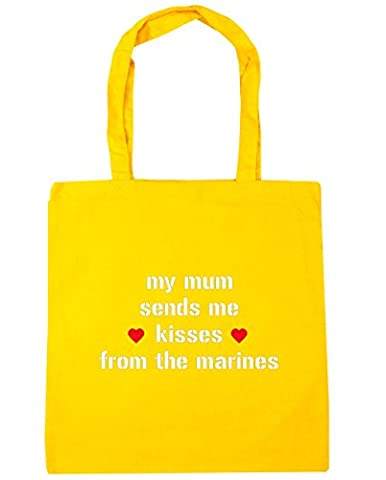 HippoWarehouse My mum sends me kisses from the marines Tote Shopping Gym Beach Bag 42cm x38cm, 10