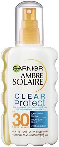 Garnier Ambre Solaire Clear Protect Sonnenschutz-Spray, mit LSF 30, 100{c4bcc8414fe48b789bc3334ad7b72bb4e3353f700d6f62fbb6355298e61c9bb3} transparent, 100{c4bcc8414fe48b789bc3334ad7b72bb4e3353f700d6f62fbb6355298e61c9bb3} nicht fettend, extra wasserfest, 200 ml