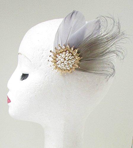 Or Gris Ivoire perle Bibi Bandeau à Cheveux de mariée vintage années 30S 79 * * * * * * * * exclusivement vendu par – Beauté * * * * * * * *