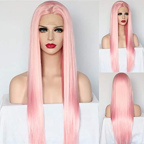 RAINBOW SCHNEE Fashion Pink Front Lace Perücke für Frauen Lang, seidig glattes Kunsthaar Perücke mit Babyhaar hitzebeständige Faser Haar halbe Handarbeit Cosplay Perruque Synthetik 61 cm