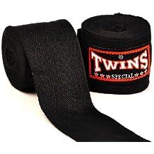 Twins Special Muay Thai algodón color sólido vendas negro