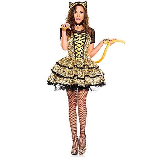 �r Kostüm Für Erwachsene Katze Frauen Halloween Für Frauen Cosplay Maskerade Kostüm Korsett Katze Kostüm (Size : L) ()