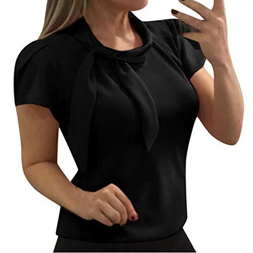 PorLous Bluse, Damen Tops Sommer Kurze Ärmel Frau Elegant Bluse Kurz Ärmel Bogen Chiffon Hemden Sommer Tops Büro Hemden Mode Späteste Stil Lose