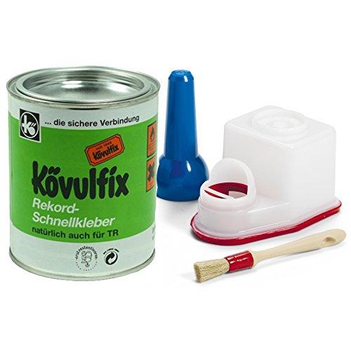koevulfix Rekord 600g Dose mit ts-boy Kleber Behälter 0,45Liter und Pinsel-Kontakt Klebstoff für Mehrzweck. Hervorragende Qualität Made in Germany. (Kontakt Boy Papier)