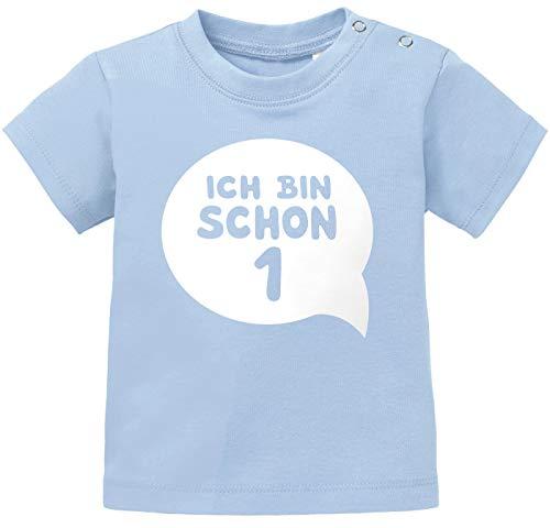 MoonWorks® Baby T-Shirt Kurzarm Babyshirt Geburtstag Ich Bin Schon 1 Jahr Eins Geschenk Jungen Mädchen Shirt hellblau 80/86 (10-15 Monate) (Was Eins Und Was Zwei T-shirts)