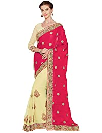 SOURBH Women's Faux Georgette And Satin Heavy Embroidered Half Half Saree(3692_with Color Options)