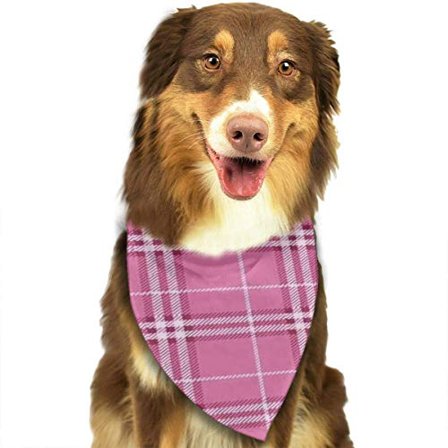 Wfispiy Classic Pink Plaid Fashion Pet Bandanas Dog Car Neck Scarf for Unisex Pet Boy Girls - Brown Plaid Bow