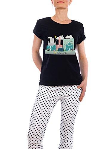 """Design T-Shirt Frauen Earth Positive """"Dubrovnik Skyline"""" - stylisches Shirt Städte / Weitere Reise / Länder von GREENGREENDREAMS Schwarz"""