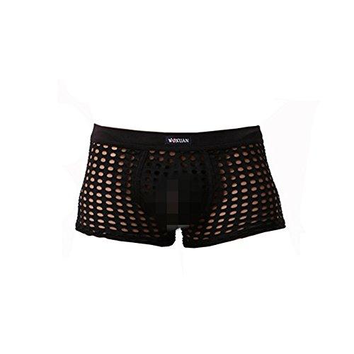 XinGe Männer Hollow Boxer / Slips / Strings Sexy T-back Sehen Sie durch Unterwäsche Schlüpfer (Large, Black-Boxer) (Sexy Black Boxer)