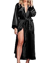 b357b1054304 EULAGPRE Mujeres Raso de Seda Largo Boda Novia Dama de Honor Bata Pijama  Feminino Baño