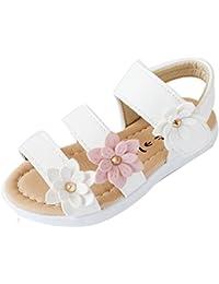 K-youth® Sandalias de Vestir Niña Moda Zapatos Bebe Niña Verano Zapatos de Cuero Niña Flor Zapatos Planos Zapatos de Princesa Chicas Zapatos de Baile Para Bautizo Cumpleaños Fiesta