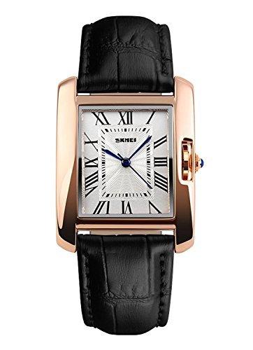 NANHUA Las mujeres es negra de cuero genuino reloj de estilo informal de la muñeca 1085