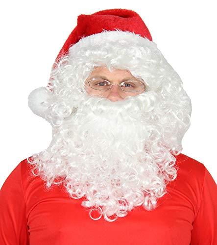 (Foxxeo 4-teiliges Weihnachtsmann Set - Perücke, Bart, Brille & Mütze - Nikolaus Kostüm)