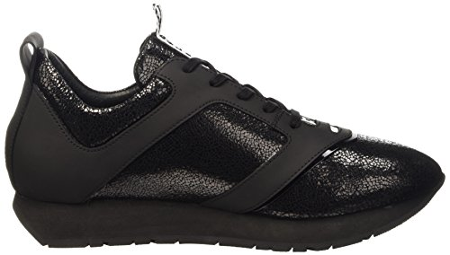 Bikkembergs Runn-er 786 Low Shoe W Leather Cracked, Pompes à plateforme plate homme Noir - noir