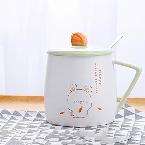 Tasses à café Créatif,Tendance,Belle,Revêtement céramique,Étudiant,Cuillères avec Couvercle,Tasses,Cup,Ménage,Déjeuner, D2 4.9x4.6pouce