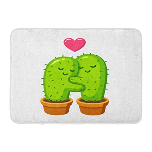 ghkfgkfgk Doormats Bath Rugs Outdoor/Indoor Door Mat Green Plant Cactus Hug Drawing Cute Cartoon Couple in Love Funny Valentine Day Valentines Bathroom Decor Rug 23.6 x 15.7 Inch