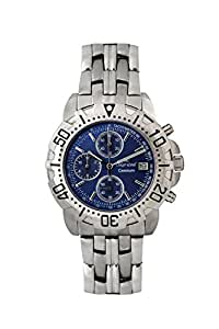 Oskar-Emil Classic Chrongraph Caesium 1119G Men's Quartz Watch with Blue Dial Analogue Display and Silver Stainless Steel Bracelet