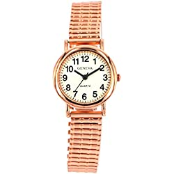Ladies Easy Read Watch Rose Gold Expandable Watch Stretchable Watch Retro Expander