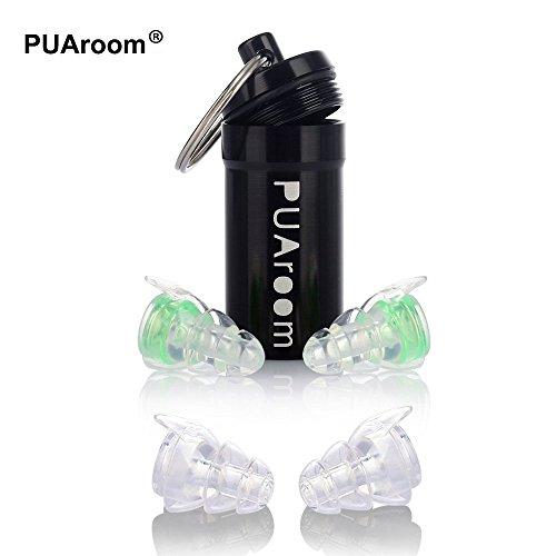 PUAroom Tappi per le orecchie, 2 paia con tappo in silicone riutilizzabile con supporto in alluminio, Ideale per musicisti, Concerto, Festival, Club, Drummer, DJ, Motociclette(verde)