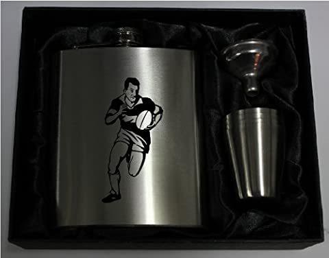 RUGBY 7oZ Hip Flask with 4 cups HF204 can be Personalised Engraved Free in silk lined gift box