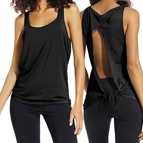 FITTOO Damen Fitness-Trainings Shirt Tank Tops Casual Kurzarm Rückenfrei Shirts für Yoga Workout (Frauen Tank Top Training)