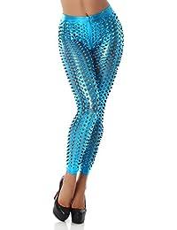 Unbekannt Women's Leggings Cutouts Gogo Hole Look Leather Look Wet Look Gloss Turquoise 12-14