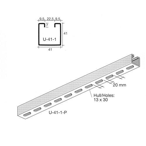 Oglaend Uno Schlitzrinne Edelstahl 41X41 mm 1 Meter Länge (als Unistrut P1000T) Packungsgröße: 1