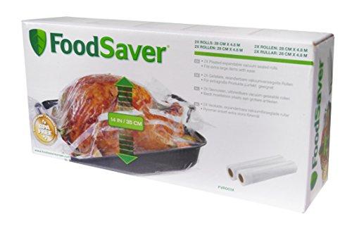 Foodsaver 2 rotoli termosigillabili espandibili per sigillatrice per sottovuoto, senza bpa, 28 cm x 4.8 mt