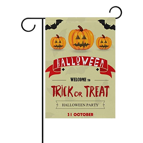 py Halloween Trick or Treat Pumpkin Garden Yard Flag Banner for Outside House Flower Pot Double Side Print 12x18 inches ()
