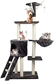 Cat Tree House Scratching Post Pet Climber Condo Basket Furniture Sisal Scratcher Tower Multi Level with Hangi