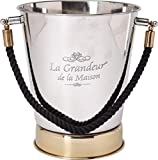 Unbekannt Edelstahl Sektkühler Weinkühler La Grandeur Schwarzer Kordel Silber/Gold