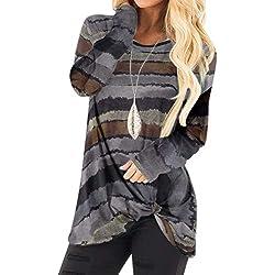 YOINS Pull Long Femme T-Shirt Sport Casual Top Décontracté Chemise Femme Manche Longue Grand Taille ,Rayure-gris,48 EU(XXL)