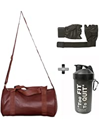 Gym Bag , Gloves And Shaker Bottle Combo Pack For Men|Women A Must Have Gym Bag Combo Kit For Boy's Girl's Fitness...