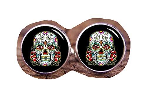 chen jian xin Sugar Skull Manschettenknöpfe Totenkopf Tag der Toten, Manschettenknöpfe (Skull Sugar Braut)
