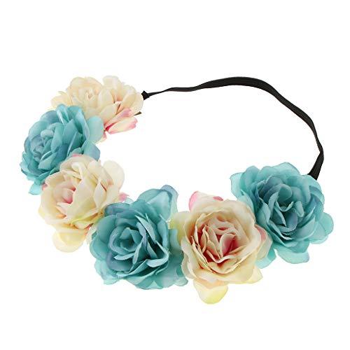 SM SunniMix Blumen Stirnband Hochzeit Haarkranz Krone Haarband Kopfband Blumenkranz Blumenkrone - Blau + pink Sm Blume
