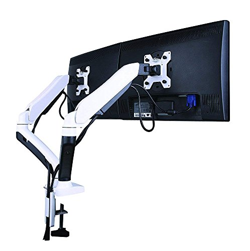 GSA22DS Gas Spring Desk Mount Double Twin LCD Monitor Arm Stand in White w/vesa Bracket & Monitor arm: Free up/down & Left/Right Motion -