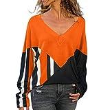 GOKOMO Damen Lose Asymmetrisch Jumper Sweatshirt Pullover Bluse Oberteile Oversize Tops(Orange-C,X-Large)