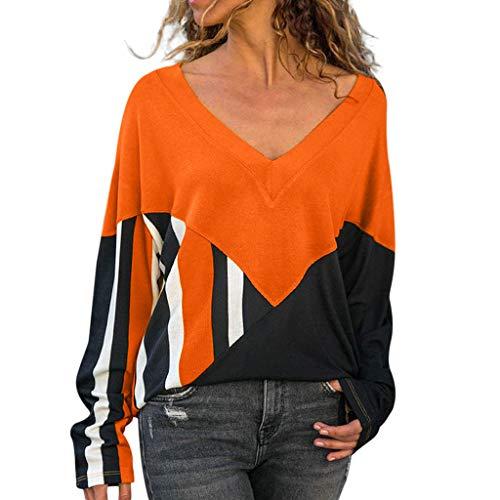MEIbax Damen Herbst V-Ausschnitt T-Shirts Casual Langarm Oberteile Bluse Tops Lose Sweatshirt -