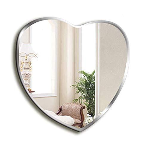Moderner Schminkspiegel (lquide Spiegel Herzförmiger Spiegel Ungerahmter moderner Spiegel zur Wandmontage Abgeschrägter Schminkspiegel für Schlafzimmer-Badezimmerspiegel (Maße: 60 * 64 cm))