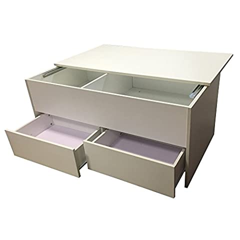 Redstone White Coffee Table - Slide Top with Storage Inside and 2 Drawers - Wooden Ottoman Storage Chest