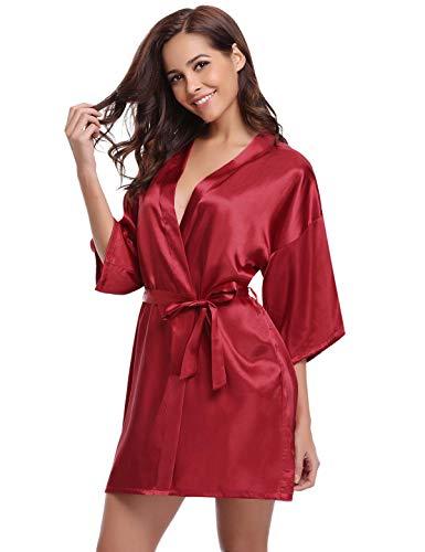 Aiboria Donna Sposa Camicia da Notte in Raso con Cintura,Elegante Vestaglia Scollo a V Pigiama Kimono Floreale Esotici