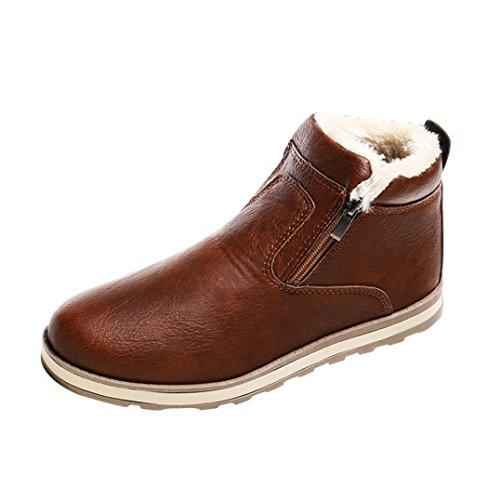 Byste uomo stivali da neve invernali antiscivolo peluche scarpe stivaletti caviglia tagliare piatto caviglia stivali (eu:39, marrone)