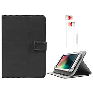 DMG Protective 7in Flip Book Cover Case for Asus Fonepad 7 Tablet ME372CG-1A055A (Black) + White Stereo Earphone with Mic and Volume Control