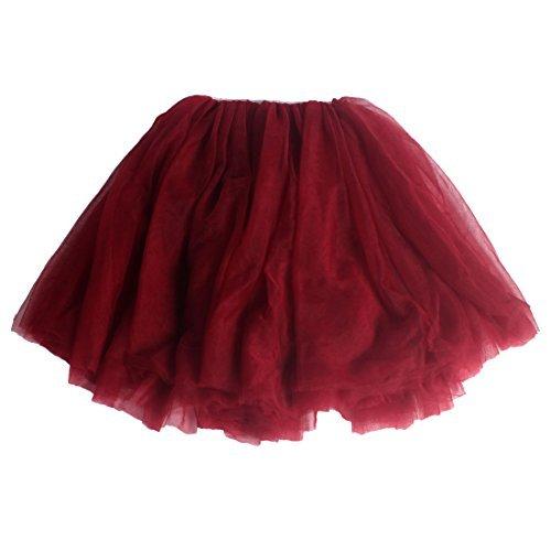 Andux Zone Kinder Mädchen Tüllröcke Tutu Rock Petticoat Ballettrock Party Tanzkleid SS-BSQ01 (120cm, Rot)