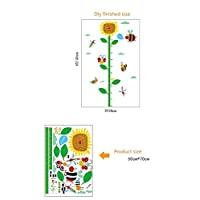 WJuan DIY Wall Sticker Cartoon Sunflower Height Stickers Insect Family Ladybug Butterfly Kids Room Bedroom Child Growth Measuring
