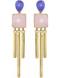 Spargz Designer Baby Pink And Purple Stone Gold Plated Party Wear Stud Earrings AIER 980