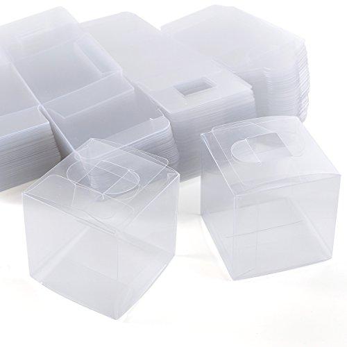 100 x Hochzeit Taufe Social gathering Gastgeschenk Transparent Bonboniere Box Geschenkbox für süßigkeiten Kartonage Geschenkverpackung Geschenkschachtel Aufbewahrungsbox Gift box Tischdeko 5.5cm