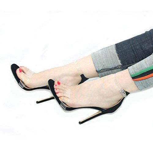 YR-R Damenschuhe Transparente Sandalen Hochhackige Mode Wanderschuhe Stilettos High Heel Slip Wildleder Knöpfe Für Nachtclub Dating Party,Black-EU:43