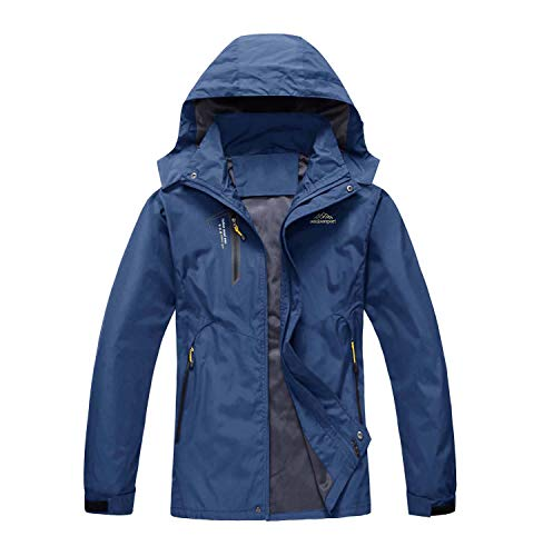 LASIUMIAT Herren Regenjacke mit Kapuze, leicht, Winddicht, isoliert, Softshell-Jacke, Herren, dunkelblau, XX-Large - Dark Blue Shell