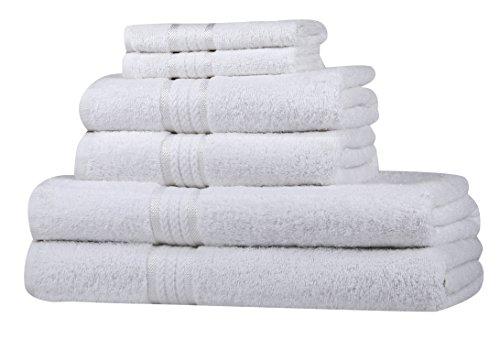 prezzo SweetNeedle – Set di asciugamani Super Soft 6 pezzi Bianca, lussuoso 100% cotone Ringspun, pesante e assorbente con finiture in rayon – 2 grandi asciugamani da bagno 70×140, 2 asciugamani 50×90, 2 panni di lavaggio 30×30 CM